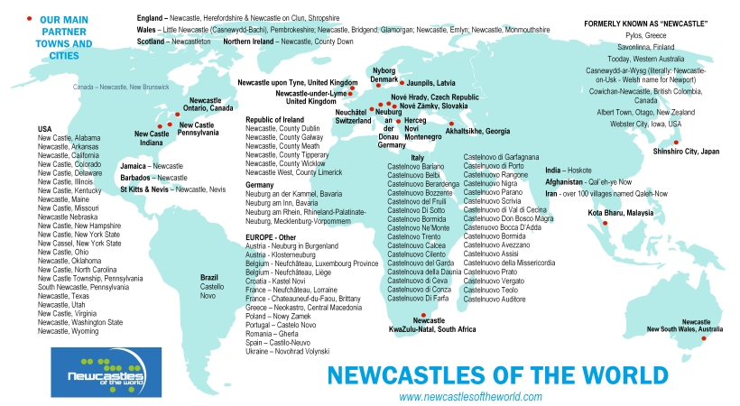 Newcastles of the World map 2019